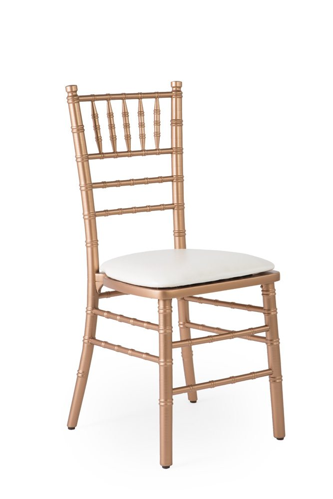 Chair Rose Gold Chiavari with White Chair Pad AB Partytime Rentals – White Chair Pad